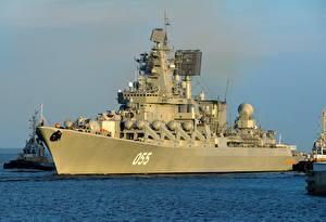 Фотографии Корабли Море Российские Missile cruiser, Marshal Ustinov, project 1164