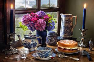 Фотографии Натюрморт Гортензия Торты Свечи Ваза Чашка Сахара Еда Цветы