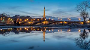 Фотография Рассвет и закат Вечер Мосты Река Франция Отражение Башни Париж Эйфелева башня Seine Города