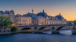 Фотография Рассвет и закат Речка Франция Мост Париже Pont du Carrousel город