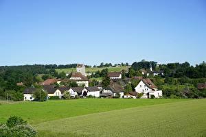 Фотографии Швейцария Поля Здания Деревня Aarwangen, Canton Bern Города