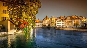 Обои Швейцария Дома Озеро Мосты Lucerne Города картинки
