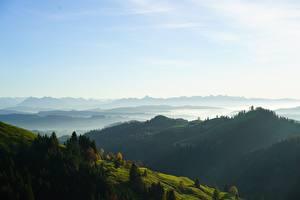 Картинка Швейцария Небо Леса Холм Туман Basel-Landschaf