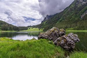 Фото Швейцария Камни Озеро Гора Лес Траве Voralpsee, St. Gallen Природа