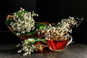 Картинка Чай Ландыши Чашка Корзинка Цветы