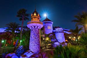 Обои США Диснейленд Парки Замки Калифорния Ночь Дизайн Башня Города