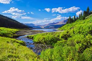 Обои для рабочего стола Штаты Озеро Гора Лес Пейзаж Небо Траве Кустов Rocky Mountains, Colorado Природа