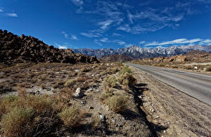 Фото США Дороги Горы Камень Небо Калифорнии Mount Whitney, Whitney Portal road Природа