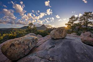 Фотографии США Камни Горы Скала Дерева Облачно Prescott, Arizona Природа