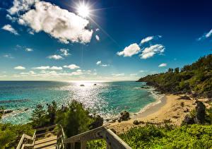 Фото Великобритания Побережье Небо Океан Солнце Облачно Bermuda