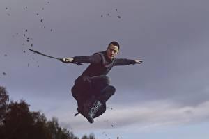 Картинка Воители Мужчина Азиаты Прыжок Меча Daniel Wu, Into the Badlands кино