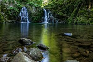 Картинки Водопады Камни Мох Ручей Природа