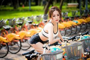 Картинки Азиатка Велосипед Размытый фон Шатенки Взгляд Руки Шортах молодые женщины
