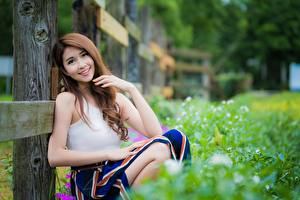 Фотографии Азиатки Размытый фон Шатенки Взгляд Улыбается Сидящие Рука Девушки