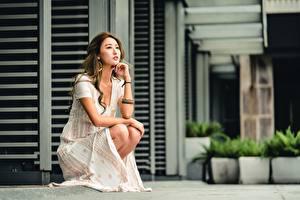 Обои Азиаты Боке Шатенка Рука Платье Сидящие молодые женщины