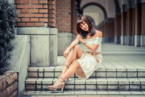 Картинка Азиатки Боке Шатенки Сидящие Рука Ног девушка