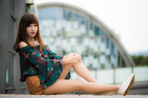 Картинки Азиатки Размытый фон Шатенка Сидя Рука Ноги Девушки