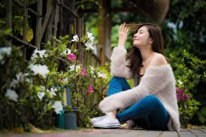 Обои Азиаты Боке Сидя Рука Ноги Улыбка Свитер молодые женщины