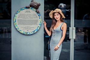 Фотографии Азиатка Платье Шляпа Смотрит Девушки