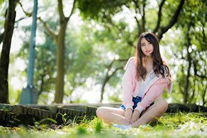 Фото Азиатки Траве Боке Шатенки Сидящие Улыбается Рука девушка