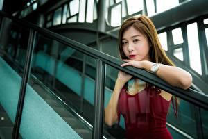 Фотографии Азиаты Наручные часы Боке Шатенки Смотрит Рука молодые женщины