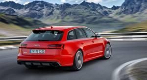 Фотография Audi Красные Металлик Едет Размытый фон Универсал RS6, Avant performance, 2015 автомобиль