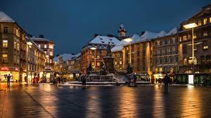 Фотография Австрия Дома Вечер Городской площади Graz Города