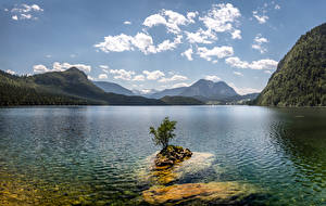 Картинка Австрия Горы Озеро Небо Облако Lake Altaussee, Northwest Styria Природа
