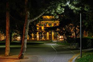 Фотография Австрия Вена Здания Ночь Деревья Города