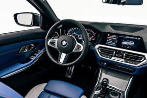 Обои для рабочего стола БМВ Салоны Автомобильный руль M340i xDrive Touring, Worldwide, G21, 2020 автомобиль