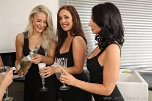 Фотографии Becky Bond Lucy Ava Hollie Q Трое 3 Блондинки Шатенки Брюнетки Смотрит Улыбается Бутылки Рука Бокал девушка