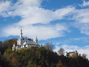 Фотографии Замок Небо Швейцария Холм Облака Гостиницы Chateau Gutsch, Lucerne Города