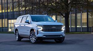 Обои Chevrolet Белый SUV Спереди Металлик Suburban, 2020
