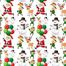 Фото Новый год Текстура Олени Дед Мороз Снеговик Белый фон
