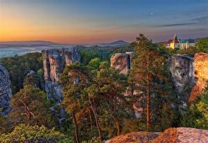 Фотография Чехия Рассветы и закаты Утес Деревьев Liberec region, Karlovice Природа