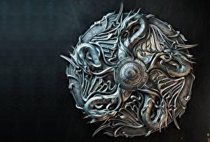 Фото Драконы Щит Металл Sasha Vinogradova, Illustration for book cover