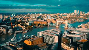 Картинка Англия Речка Мост Здания Лондоне Сверху