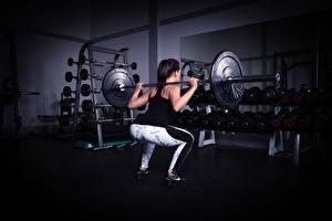 Фотография Фитнес Спортзал Физическое упражнение Штангой Сзади Приседает спортивная