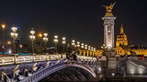 Фотография Франция Мосты Скульптура Париже Ночь Уличные фонари Alexander III bridge