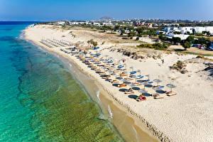 Картинка Греция Побережье Здания Море Песок Пляже Naxos City