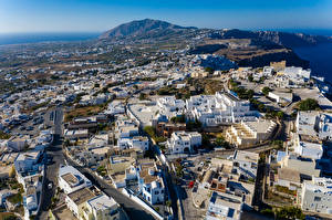Картинка Греция Дома Улица Сверху Thira, South Aegean