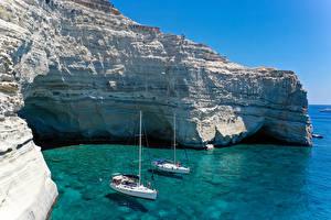 Фото Греция Парусные Яхта Залива Утес Ksylokeratia, Milos Природа