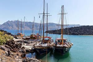 Фото Греция Санторини Пирсы Парусные Корабли Залив Природа