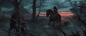 Фото Лошадь Волк Воины Готические Капюшоне Фантастика