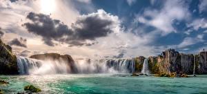 Обои Исландия Водопады Небо Скала Облака Goðafoss Природа