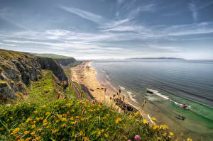 Обои Ирландия Берег Море Небо Траве Downhill Beach