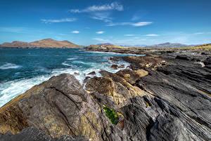 Фотография Ирландия Берег Море Небо Скале Kerry Природа