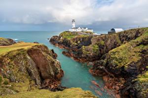 Обои Ирландия Берег Камень Маяки Скала Fanad Lighthouse, Donegal Природа