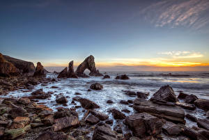 Фото Ирландия Берег Камень Небо Скале Арка Donegal, Sea Arch Stack Природа