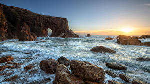 Фото Ирландия Побережье Камни Рассвет и закат Скале Арка Sea Arch Stack, Donegal Природа